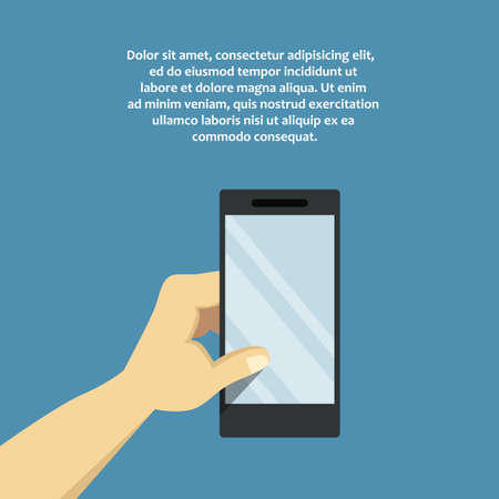 holing: Hand holing white smartphone, touching blank screen. Digital flat illustration