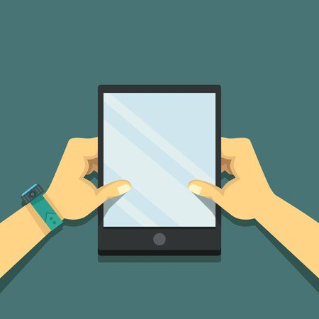holing: Hands holing tablet computer with blank screen. Flat digital illustration