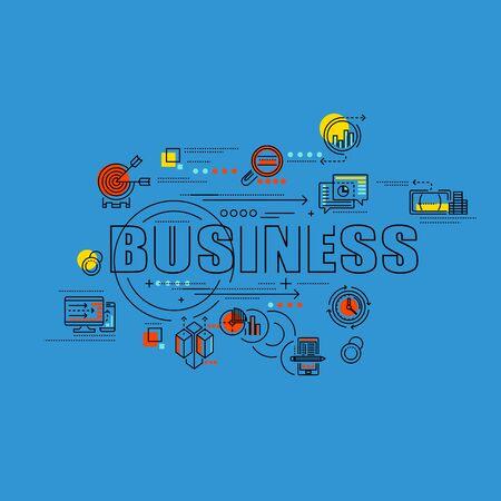 consept: thin line consept wit fkat business icons Illustration