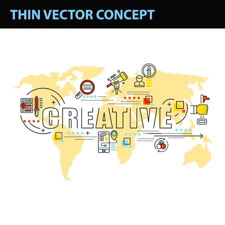 entrepreneurship: thin line consept wit fkat business icons Illustration