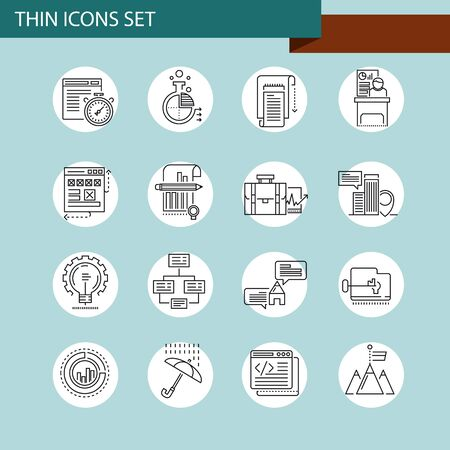 job opportunity: Thin line concept with flat business icons Illustration