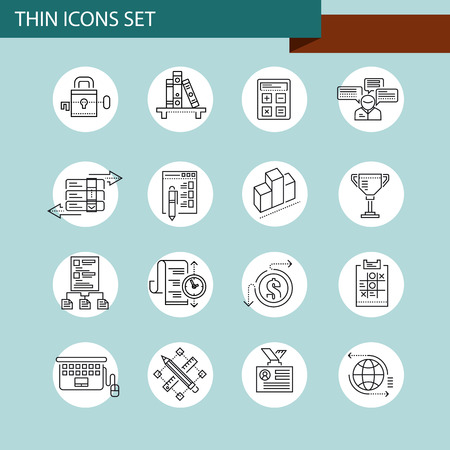 leadership potential: Thin line concept with flat business icons Illustration