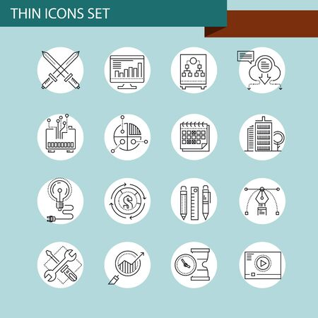entrepreneurship: Thin line concept with flat business icons Illustration