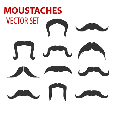 fake mask: Mustaches vector set, creative illustration isolated on white Illustration