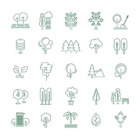 Les arbres fixés, des icônes de lignes minces sur blanc