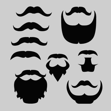 props: Props set. Mustache and beard isolated vector