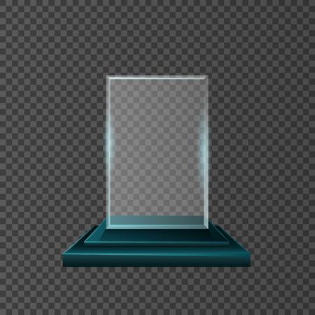 Empty glass trophy awards vector set design. Ilustração Vetorial