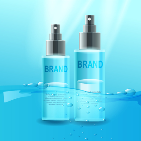 Vector cosmetic tubes. Water power, good product