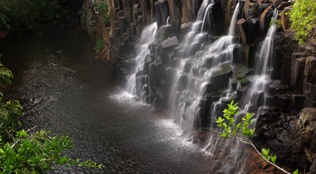 Exotic Rochester Falls in Mauritius, panoramic