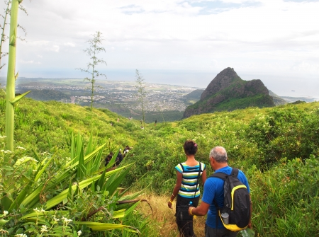 Hikers in Mauritius Banque d'images