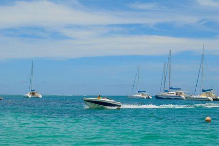 aux: Speedboat at Ile Aux Cerfs, Mauritius