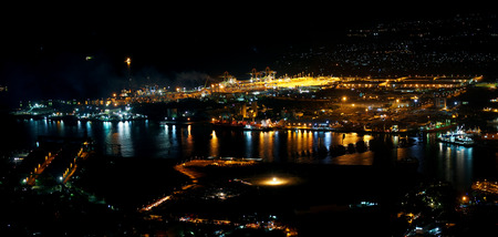Port-Louis capital of Mauritius at night photography Stock Photo