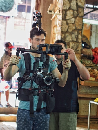 Cameraman shooting documentary