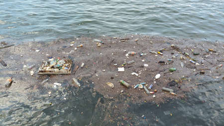 Environmental pollution of sea at harbour