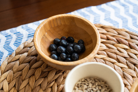 Ingredients for cooking, blueberries in a bowl