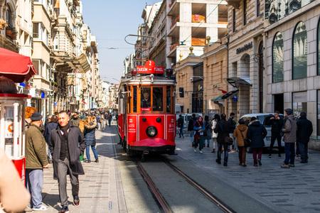 Editorial - Taksim Square - Tunel Tram, Trademark of Beyoglu, Istiklal Street. Istanbul. 032019 Redakční