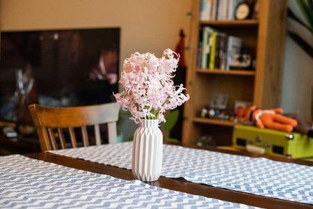 Pink  hyacinth blossom in a small pink vase Banque d'images