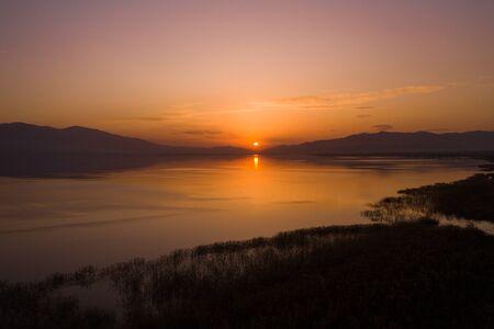 Sunset over the lake. Aerial view of the beautiful sunset. Iznik, Turkey