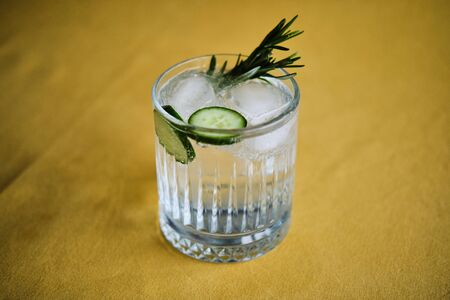 Alcoholic drink gin tonic cocktail with cucumber, rosemary and ice Stok Fotoğraf