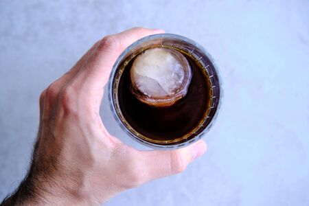 Cold Brew Coffee with two ice cubes, refreshing cold caffeine boost Stok Fotoğraf