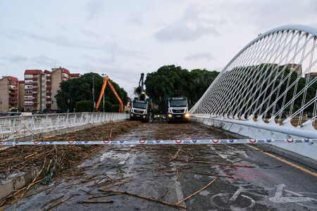 Murcia, Spain, september 13, 2019: cleaning rio segura after heavy storms on Murcia.