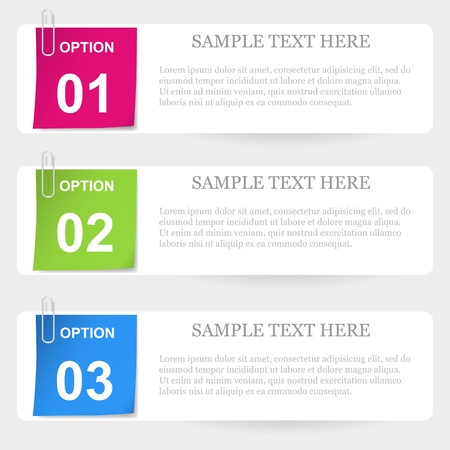 One two three stapled note options Stock Vector - 14652643