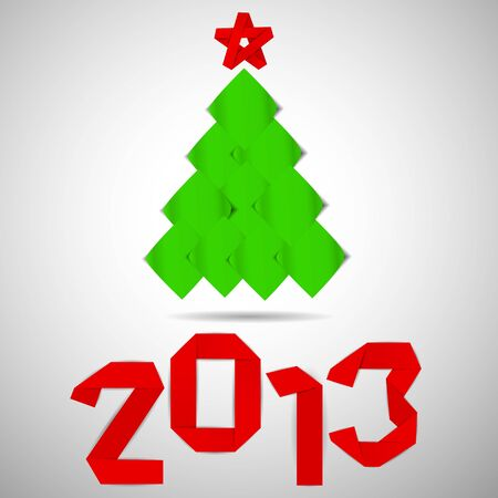 Green tree with red stripe 2013 numerals christmas card Vector