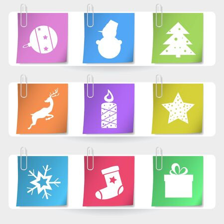 Color stapled christmas cards  Stock Vector - 15332318