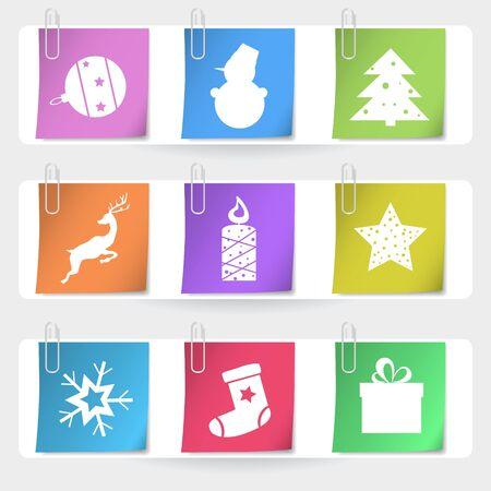 stapled: Color stapled christmas cards