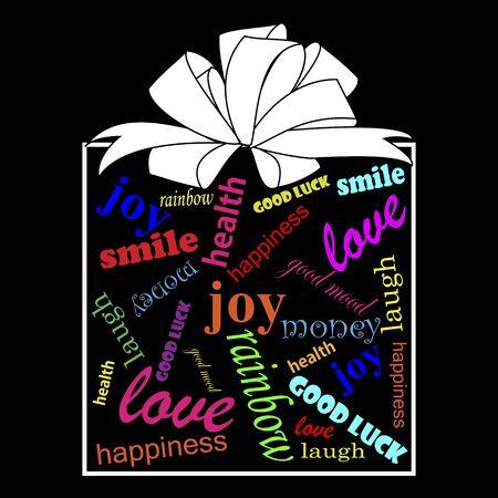 buena suerte: Caja de regalo con wishs