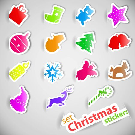 Colorful christmas stickers set eps10 vector illustration Stock Vector - 15914966