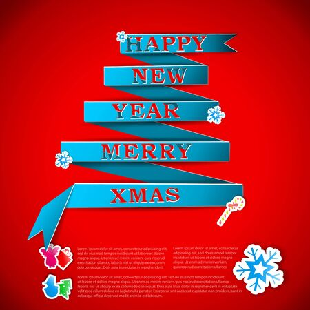 Merry XMas greeting card vector illustration Stock Vector - 15914965