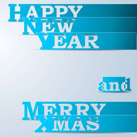 Blue Happy New Year & Merry Xmas paper strips Vector