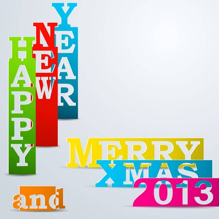 Colorful Happy New Year & Merry Xmas paper strips Illustration