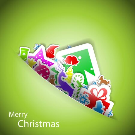 Stickers merry christmas card Stock Vector - 15914963