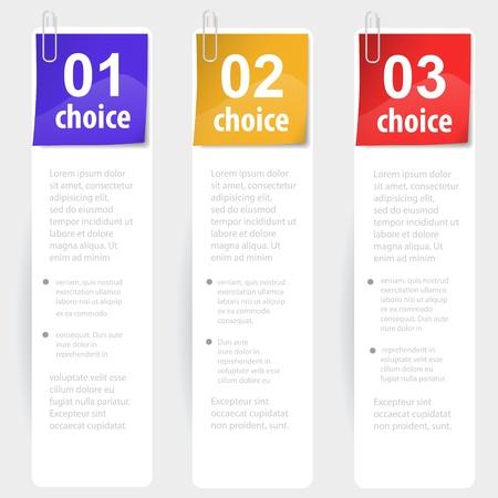Stapled note choice sticks  illustration Stock Vector - 16195699