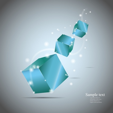 three object: Abstract cubes with glow  illustration Illustration