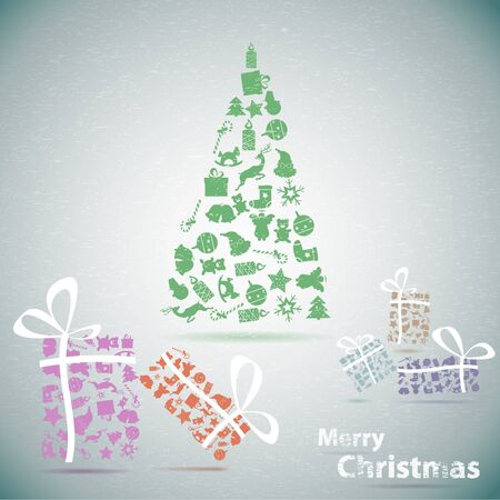 Merry Christmas tree with gifts in snow  illustration Stock Vector - 16195701