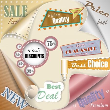 Retro and vintage paper sale elements illustration