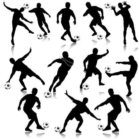 Soccer man silhouette set  illustration