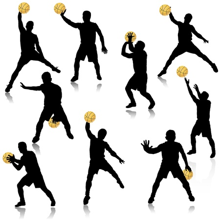 dribble: Basketball man in action silhouette set