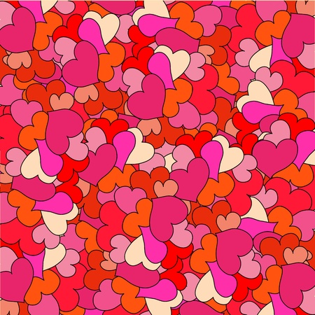 Romantic seamless pattern with hearts. Many pink hearts on ornate background. Stock Vector - 17745901