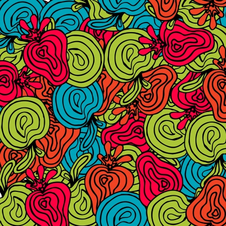 desktop wallpaper: Bright abstract fruits pattern.Can be used for wallpaper, pattern fills, web page, surface textures. Endless skin for gadgets desktop. Modern psychedelic design