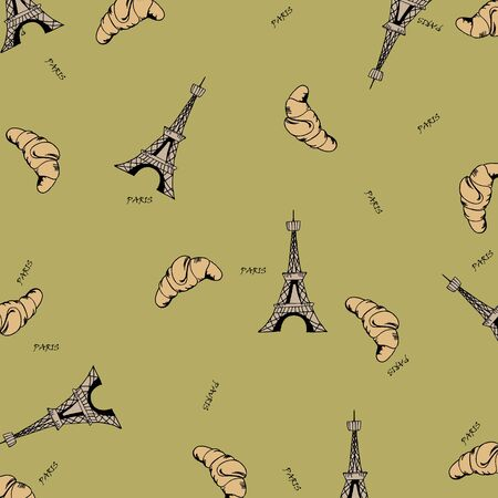 Paris seamless pattern with eiffel tower and croissant. Can be used for wallpaper, pattern fills, web page background,surface textures, fabric. Stock Vector - 17745913