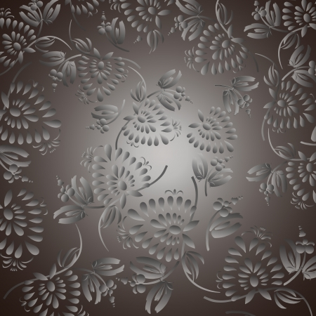 amazing wallpaper: Black background with silver flowers and leaves, can be used for wallpaper, pattern fills, web page background,surface textures. Gorgeous seamless floral background. Illustration