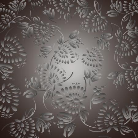 amazing wallpaper: Sfondo nero con argento fiori e foglie, pu� essere utilizzato per carta da parati, riempimenti a motivo, pagina web, texture di superficie. Splendido sfondo trasparente floreale.