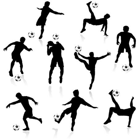Soccer man silhouette in action Иллюстрация