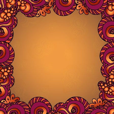 Decorative ornamental frame with bright floral elements.Original frame template, background design. Hand drawn frame with colorful doodling elements Stock Vector - 18234132