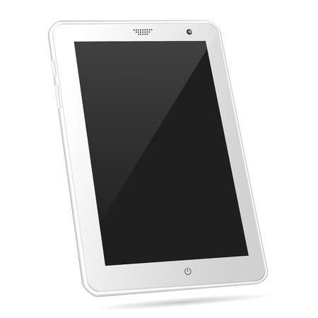 Tilted white tablet PC illustration Stock Vector - 19118514