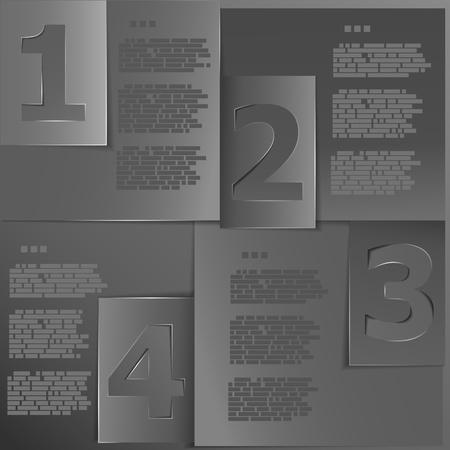 Black paper templates for progress or versions presentation illustration Stock Vector - 19118520